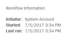 System Account Executing the Workflow