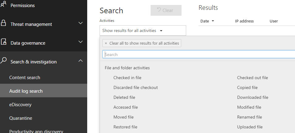Security and Compliance audit log search